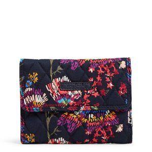 Vera Bradley Quilted Euro Wallet Midnight Flowers